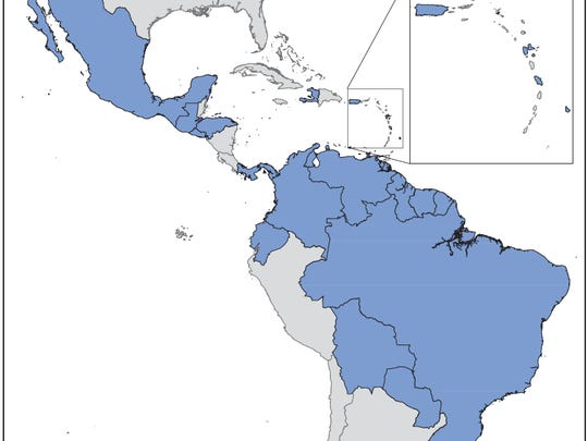 Countries and territories, in blue, with documented transmission of Zika virus reported to the Pan American Health Organization, according to the Centers for Disease Control and Prevention.