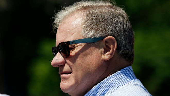 Republican candidate for Pennsylvania governor Scott Wagner arrives at a polling station Tuesday, May 15.
