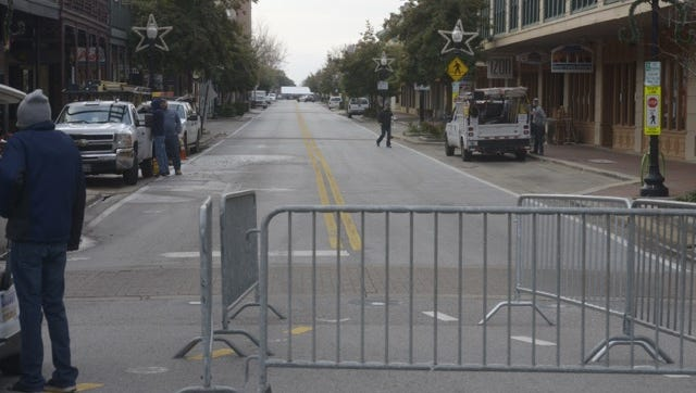 Palafox Place in downtown Pensacola is blocked from vehicle traffic Wednesday morning in preparation for the New Year's Eve celebration.