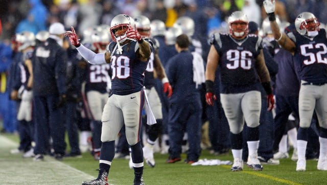 FOXBORO, MA - JANUARY 18:  Brandon Bolden #38 of the New England Patriots reacts after a play in the second half against the Indianapolis Colts of the 2015 AFC Championship Game at Gillette Stadium on January 18, 2015 in Foxboro, Massachusetts.  (Photo by Jim Rogash/Getty Images)