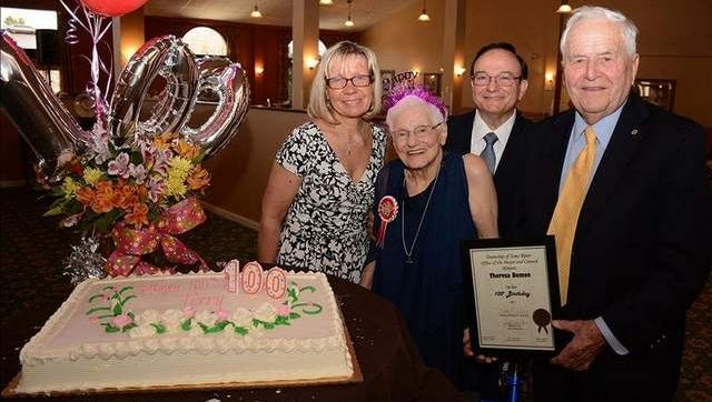 100 year old Terry DeMeo, foreground, with Mayor Tom Kelaher (far right), her son Ron DeMeo and daughter in law Janet DeMeo