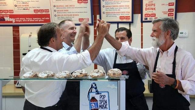 Celebrating (l-r) are Peter Cancro, Jersey Mikes Founder & CEO; David Jobe, president of Winsight Events; Mike Manzo, COO, Jersey Mikes; and Tom Nelson, president, No Kid Hungry/Share Our Strength,