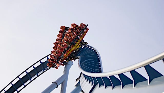 This is the Griffon dive coaster at Busch Gardens, Williamsburg, Va. If Cedar Point as expected announces a new dive coaster, it will be only the third one in the United States.
