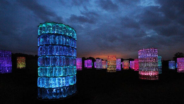 """Bruce Munro's """"Water-Towers"""" are shown here in Longwood Gardens, Kennett Square, Pennsylvania in 2012."""