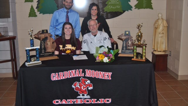 Calista Chaltron announces her decision to sign with the Univeristy of Concordia Chicago. She is joined by Cardinal Mooney principal Mr. Jason Petrella, Athletic Director Kelly Loria and coach Dennis Caulfield