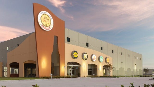 Brew Hub, a large gleaming facility, in Lakeland, Florida, with adjoining taproom and generous outdoor space, proudly advertises the brands made inside.
