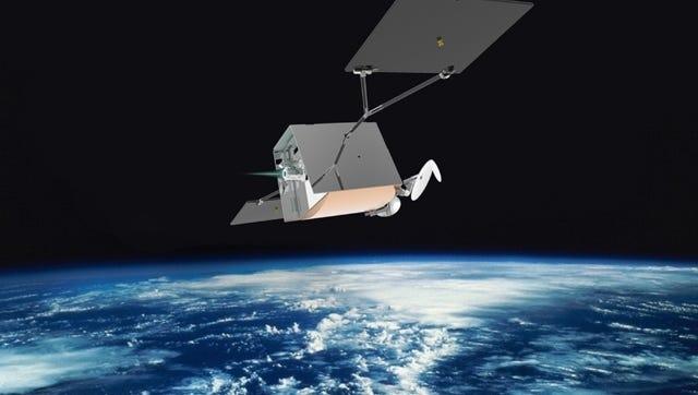 Artist concept of a OneWeb satellite in orbit.