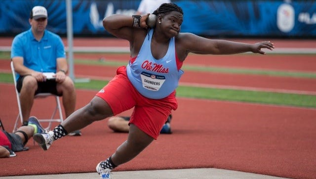 Ole Miss' Raven Saunders wore her powder blue as she qualified for the 2016 Olympic games in Eugene, Ore. Thursday evening.