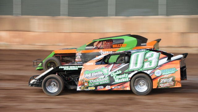 Shawano's Kyle Raddant (03) won his first IMCA northern sportmod feature at Shawano Speedway last weekend.