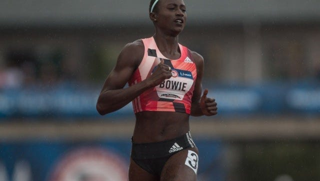 Sand Hill, Miss. native Tori Bowie qualified to run the 200-meter dash at the 2016 Rio Olympics Friday evening in Eugene, Ore.