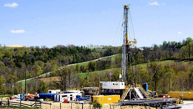 A Chesapeake Energy natural gas well site is seen near Burlington, Pa., in Bradford County, in this 2010 file photo.