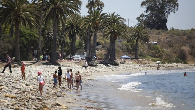 People at Refugio State Beach in July 2015.