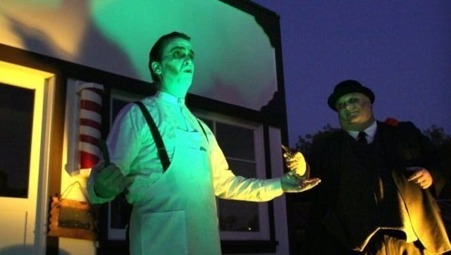Actors portraying the ghosts of historical Simi Valley figures at a past Halloween season Ghost Tour at Strathearn Historical Park.