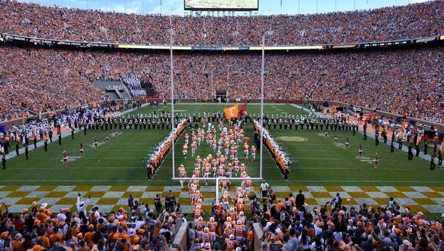 "The 50th year of the Tennessee football team running through the ""T"" to start their game against Western Carolina at Neyland Stadium on Saturday, Sept. 19, 2015 in Knoxville, Tenn. (MICHAEL PATRICK/NEWS SENTINEL)"