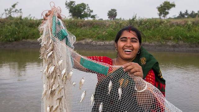 A woman with fish caught using gill net in Bangladesh.