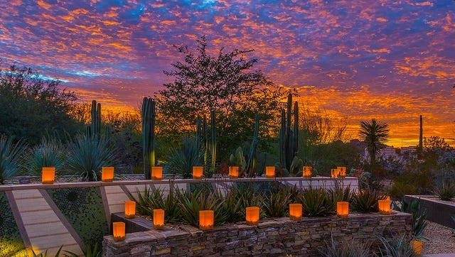 Luminarias at Las Noches de las Luminarias at the Desert Botanical Gardens in Phoenix.