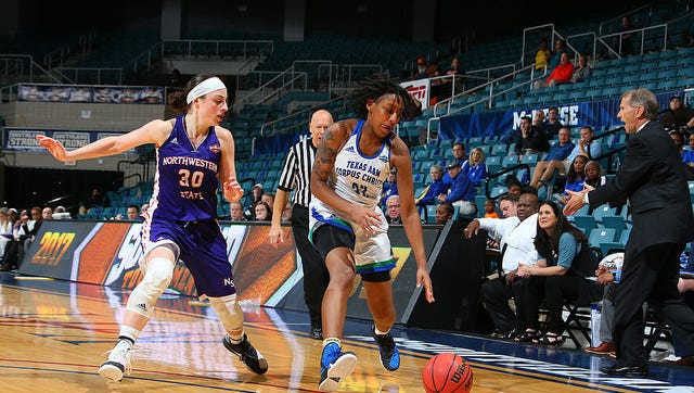 Northwestern State's Beatrice Attura (left) guards Texas A&M-Corpus Christi's Dalesia Booth during Thursday's Southland Conference Tournament game.