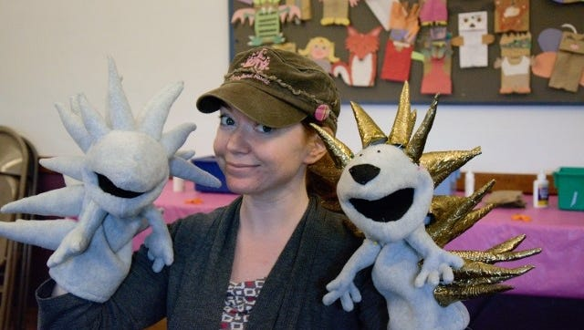 """Puppeteer Stacey Gordon, """"Sesame Street's"""" newest cast member, at a 2014 gathering of the Phoenix Guild of Puppetry."""
