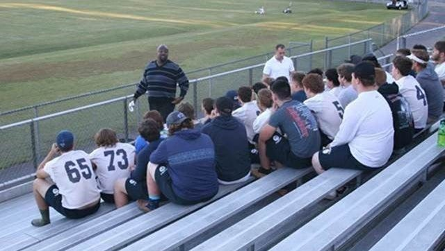 """Cheatham County Central High School and Sycamore High School football teams recently got """"a pep talk and an inspirational message,"""" from retired NFL player Irv Smith Sr. and NFL agent Frank Gaitan."""