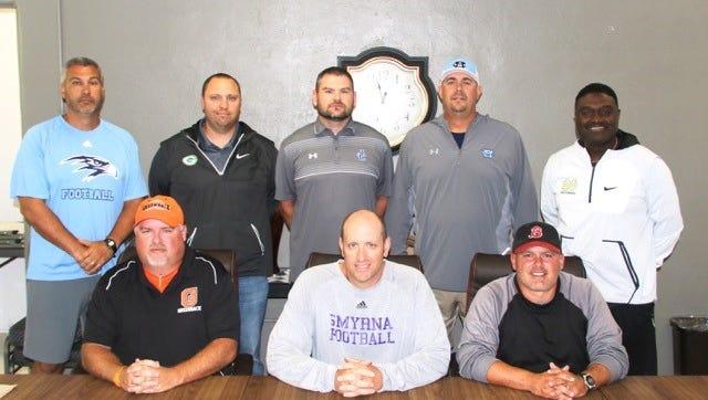 East Team Coaches 2017 Front row (l-r) Greg Ryan, Matt Williams, Jeremy Jenkins Back row (l-r) West Jones, Mark Williams, Sean Loftis, Jason Dobbs, Charles Fant