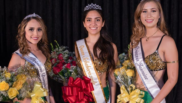 Queen Scheherazade, Princess Dunyazade and Princess Jasmine have been chosen for the 2018 Riverside County Fair & National Date Festival. They are (from left) Sianna Gonzalez, Keanna Garcia and Caedwyn Lethlean, who are all local high school seniors.
