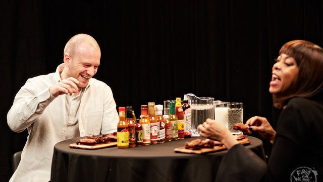 Taraji P. Henson reacts to Extreme Karma sauce on 'Hot Ones' on YouTube.