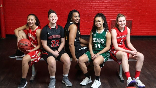 The 2017-18 Home News Tribune All-GMC Girls Basketball First Team (from left to right): Samira Sargent (Edison), Brooke Timinski (Woodbridge), LaNiya Miller (Piscataway), Nicole Johnson (East Brunswick), Emma Boslet (Bishop Ahr)