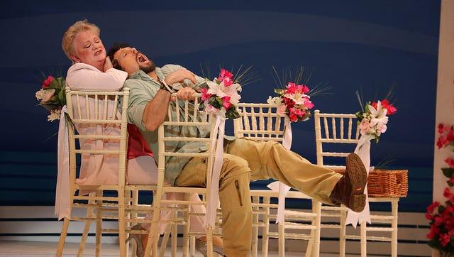 """Charis Leos and Christopher Sutton in Riverside Theatre's """"Mamma Mia!"""""""