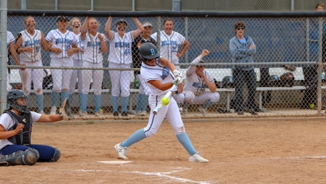 Buena High's Rylee McDaniel lines out in the seventh inning of Tuesday's CIF softball playoff game.