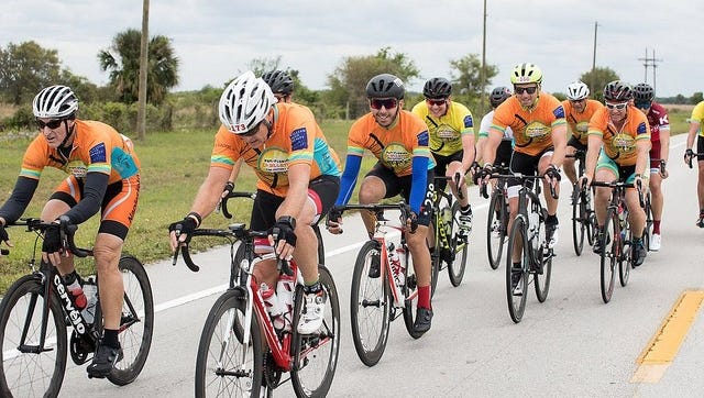 Pan-Florida Challenge riders on the road.