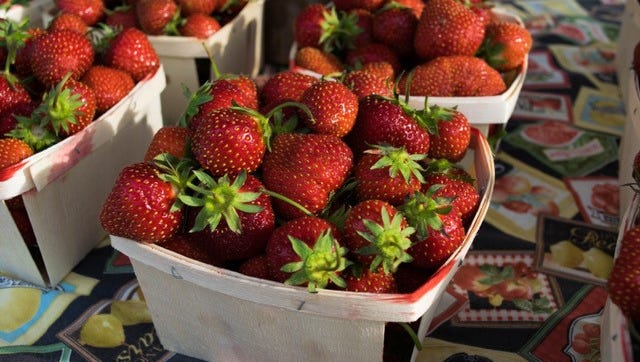 Strawberry Shortcake Day means it's suddenly summer  at the Farmington farmers market.