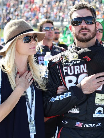 Martin Truex Jr. stands with girlfriend Sherry Pollex
