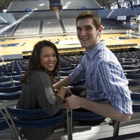 Andrew Smith and his wife, Samantha (she was his fiancee at the time), posed in Hinkle Fieldhouse in February, 2013. She posted in a blog that Andrew's cancer has returned.