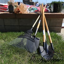 Garden tools ready for about 25 volunteers from Marathon Petroleum along with the Detroit Public Safety Foundation work on landscaping to beautify the Southwest Public Safety Center also known as the 4th precinct in Detroit. Friday, April 17, 2015.