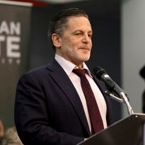 Dan Gilbert announces he and his wife, Jennifer, both Michigan State University alumni, will donate $15 million to Michigan State University on Wednesday, Oct. 26, 2016.