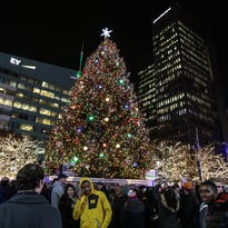 Detroit Christmas tree lights up Campus Martius