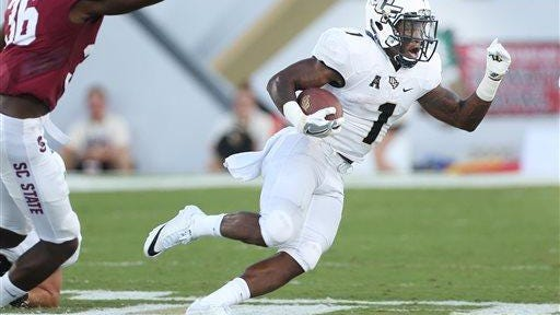 UCF running back Jawon Hamilton (1) runs against South Carolina State during last Saturday's victory.