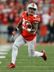 Ohio State running back Mike Weber plays against Illinois during an NCAA college football game Saturday, Nov. 18, 2017, in Columbus, Ohio. (AP Photo/Jay LaPrete) ORG XMIT: otk_fbc_11182017_017