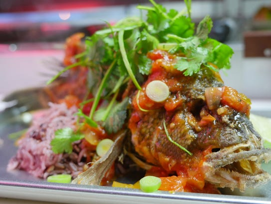 The Vietnamese-style whole fried fish at the Flowers