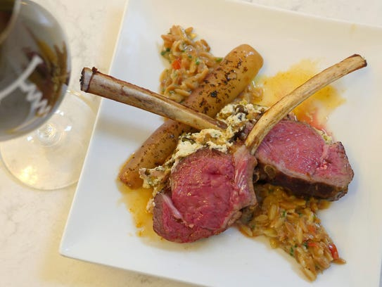 Pistachio chevre-crusted lamb chops with toasted orzo