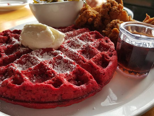 "The ""Big Red,"" a Red Velvet waffle with a sweet cream-cheese"