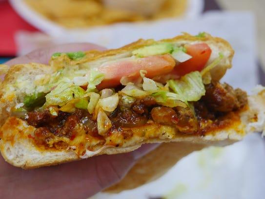 Torta al pastor from Las Cazuelas, a Mexican restaurant