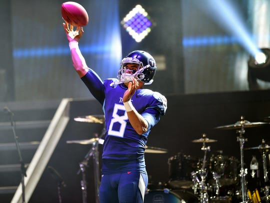 Tennessee Titans quarterback Marcus Mariota (8) shows