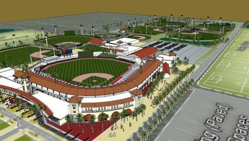 A rendering of what a spring training stadium would look like for the Atlanta Braves on land off Collier Boulevard, (Submitted photo)