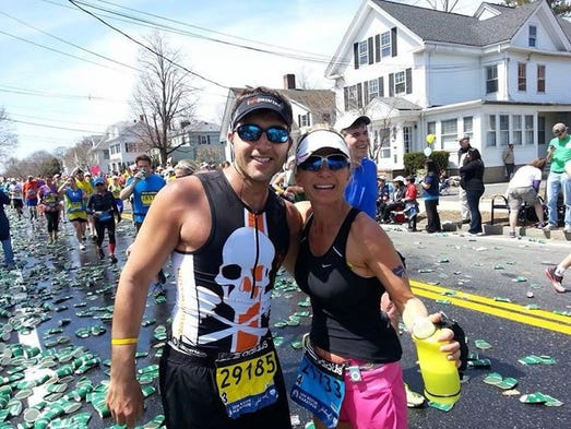 Pensacola participants Perry Palmer and Mindi Straw in the 2014 Boston Marathon.