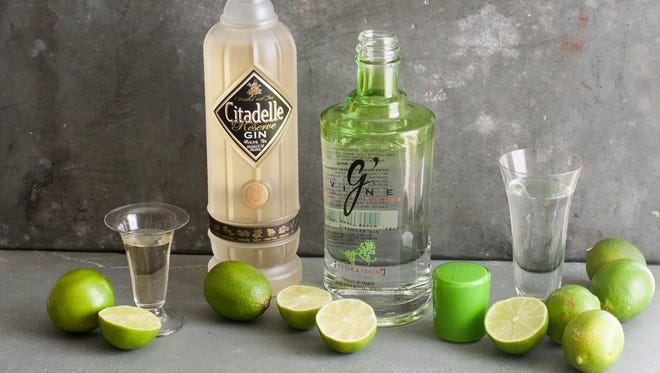 Citadelle reserve gin, left, and Gin De France G Vine gin in Concord, N.H. on June 30, 2014.