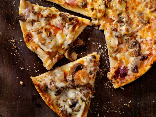 Roasted Mushroom, Garlic and Red Onion Thin Crust Pizza