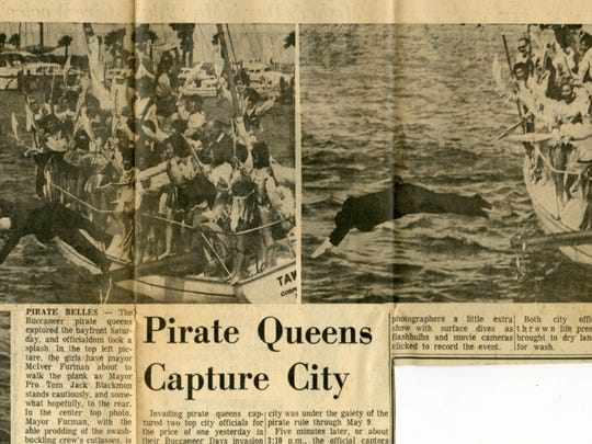 Caller-Times fileIn this clipping from the May 2, 1965 Caller-Times, Mayor McIver Furman (left photo) is unceremoniously dumped in the bay by Buc Days pirate queens, while Mayor Pro Tem Jack Blackmon (right photo) takes a more professional dive shortly after Furman.