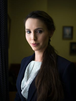 Rachael Denhollander poses for a portrait at the Kentucky State Capitol in Frankfort, Kentucky, on Thursday, Feb. 22, 2018. Denhollander was the first woman to speak out against former USA Gymnastics doctor Larry Nassar, who was sentenced to 175 years in prison.