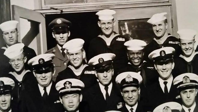 James Belcher Sr. is pictured in the middle of the back row at the U.S. Naval Training Center in San Diego, California on Nov. 15, 1957.
